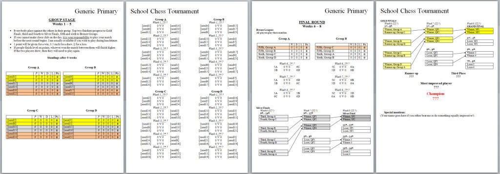 This tournament HAD to have 24 players, HAD to last exactly eight weeks, and HAD to be structured so nobody was eliminated and there was always something to play on for. If you think this one's complex, you should see the one I designed for 32 competitors. (Click for full-size image, if you're interested.)